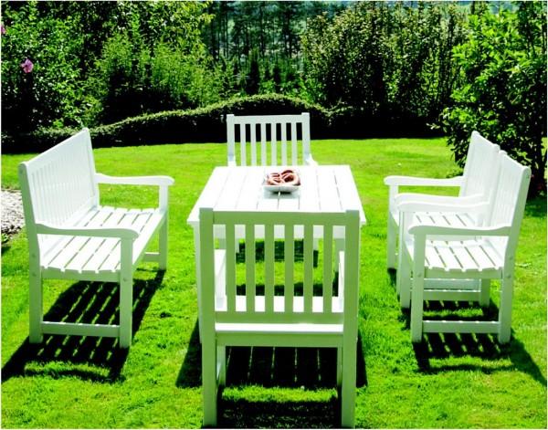 Rügen Garten-Sitzgarnitur Mahagoni weiss lackiert