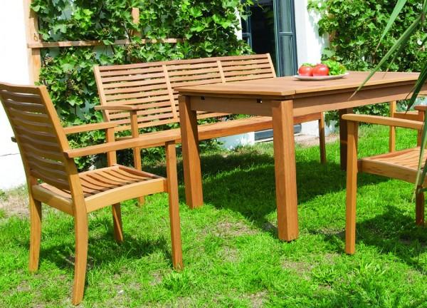 Lugano Gartenset mit Tisch,Sessel + Bank