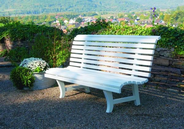 Potsdam Garten+Parkbank Mahagoni Weiss lackiert